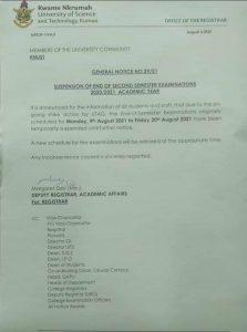 knust suspends second semester exams